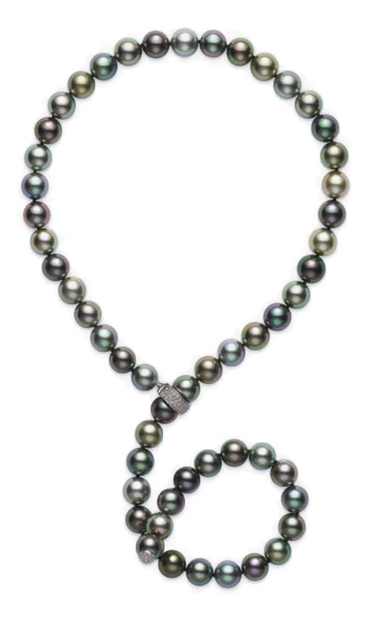 Mikimoto Lariat Fine Jewellery Pearl Necklace Featuring Multicoloured  Black…