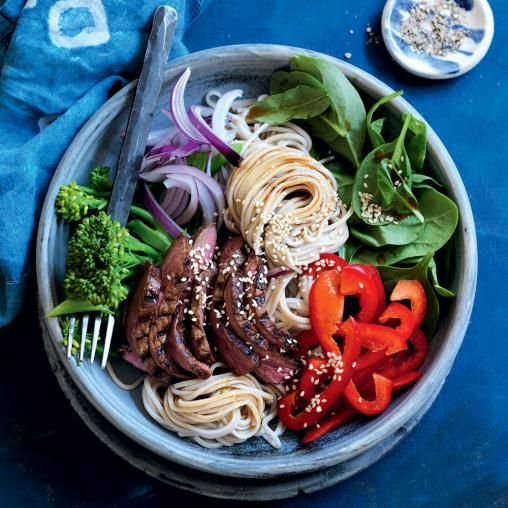 Warm wasabi beef, soba noodle and spinach salad recipe #delicious