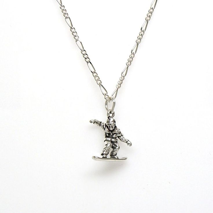SNOWBOARDER 925 Sterling Silver Necklace Chain and Pendant #2265