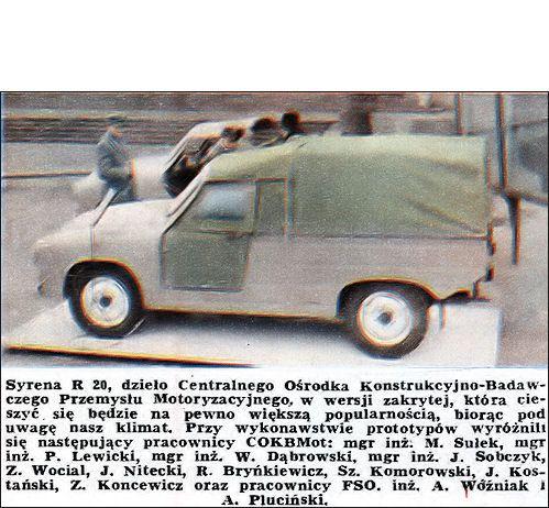 OG | 1971 FSO Syrena R-20 | Pick-up prototype based on Syrena 104