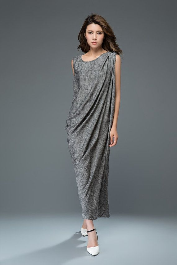 Linen Cocktail Dress - Long Maxi Draped Sleeveless Women's Party Dress Relaxed Fit Plus Size Clothing (C923)