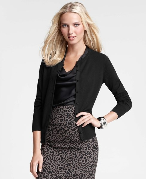 Crew Neck Cardigan over woven tank that has been tucked into pencil skirt in contrasting leopard design. Ann Taylor 2012 Fall Collection