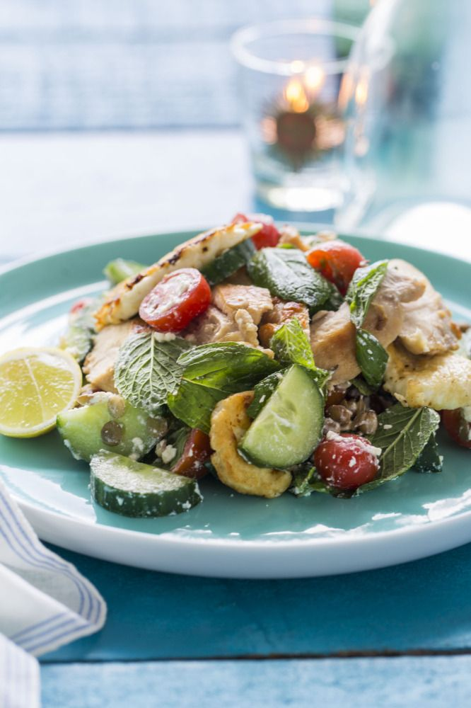 Chicken, Lentil and Feta Salad with Tzatziki Dressing