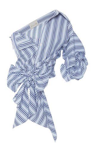Cotton Striped Sherlock One Sleeved Top by JOHANNA ORTIZ Now Available on Moda Operandi
