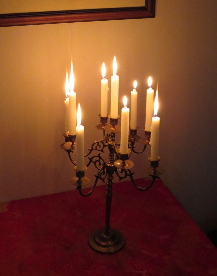 Vintage brass, 9 sconce, tabletop candelabra, rustic, farmhouse decor, romantic lighting, large candelabra, heavy brass holder by ChippedPaints on Etsy