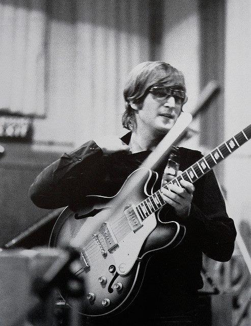 John Lennon during the recording sessions for Revolver, 1966
