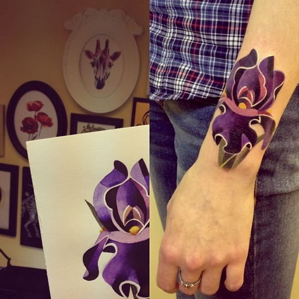 Stunning geometric watercolour style iris tattoo (Artwork by Sasha Unisex)