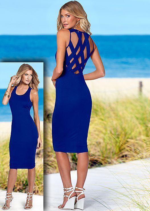 Cobalt blue Back detail dress that goes from beach to boardwalk! Available in sizes XS-XL!