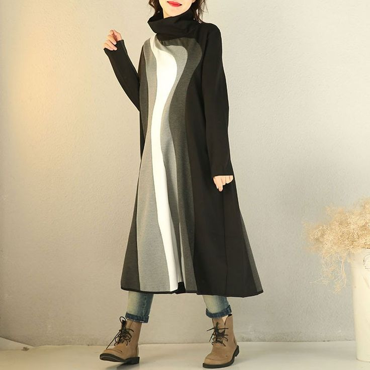 Women Winter Knitting high Collar Sweater Dress