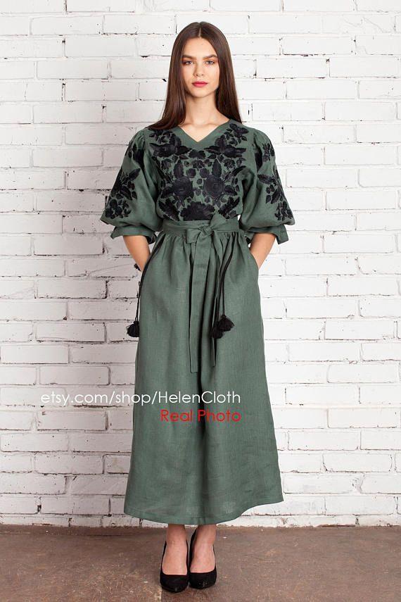 VYSHYVANKA Green Linen Embroidered Ukrainian Dress bf6f3b8d866