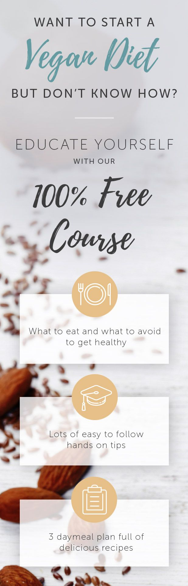 Want to start a #vegan #diet? We've got you covered. Learn everything from healthy staple foods to delicious & convenient treats, reasons for veganism, how to respond to questions & much more in our FREE course. There's also a meal plan with easy, delicious #recipes included. Join now :)