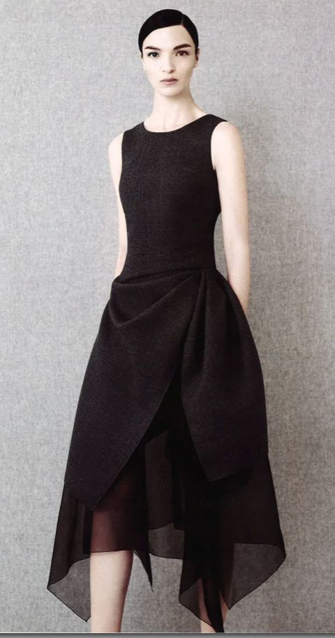 "Dior - gives new meaning to the term ""little black dress"" beautiful!! can be translated into color for sure!! graceful sheer overlay, simple elegance"
