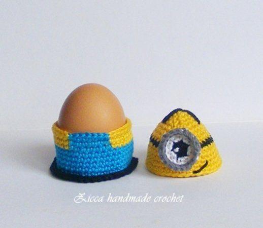 Häkelanleitung - Minion Eierwärmer , Eierbecher