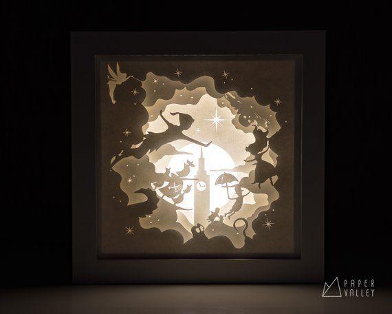 Peter Pan Papercut Lightbox, Home Decor Lamp, Decorative