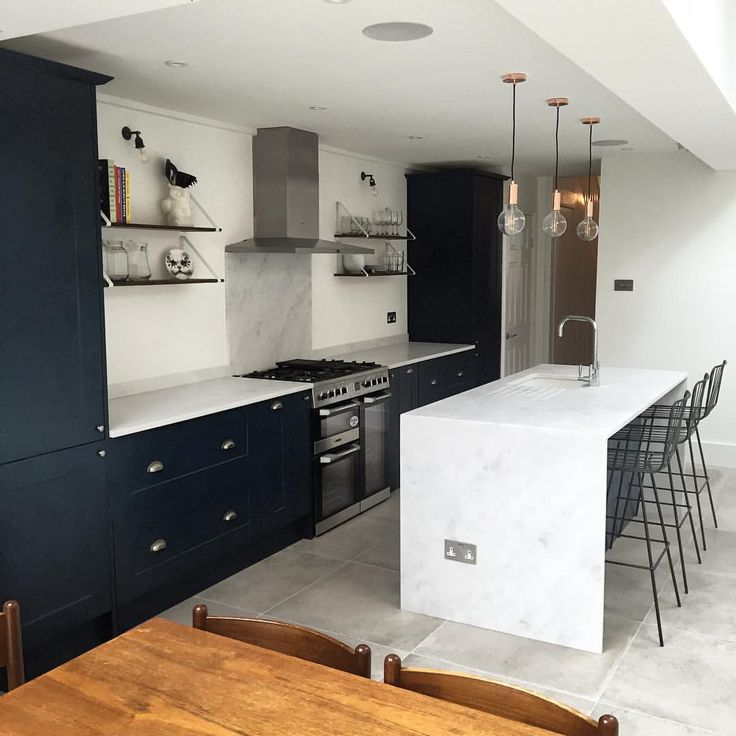 Navy kitchen with kitchen island   See this Instagram photo by @charlene_kate85 • 46 likes