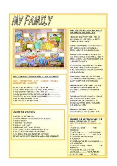Elementary level worksheet comprising a simple reading activity and 3 follow-up tasks based around vocabulary for family members and location of people and objects in the room.