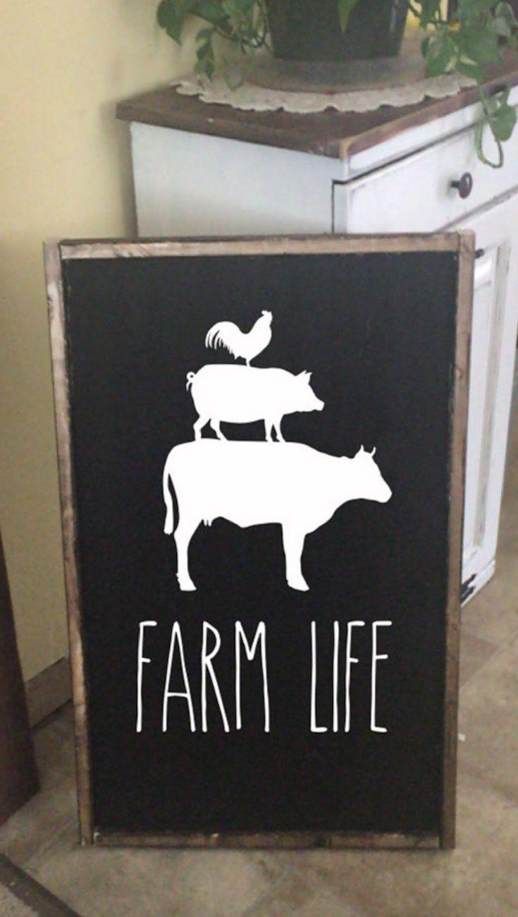 Farm life sign rooster pig cow sign farmhouse sign farm decor