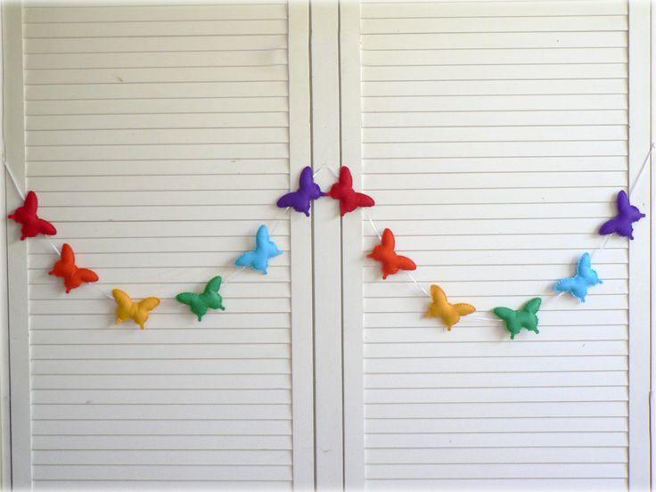 Rainbow butterfly banner/ garland/ bunting - Felt butterflies - Children decor - Rainbow birthday decoration. $69.00, via Etsy.