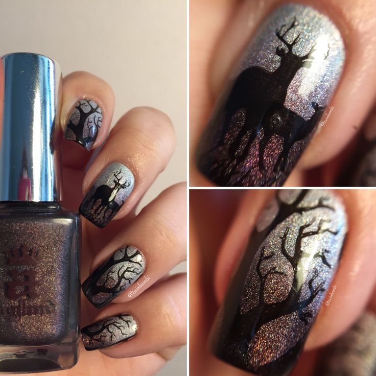 @AEngland Briarwood w. Encore Margot  Stamped @ChinaGlaze Liquid Leather Stamping Plate Born Pretty