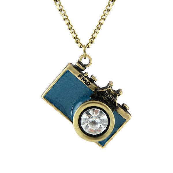 Vintage-style camera pendant necklace in deep teal. A bejeweled beauty! Camera…