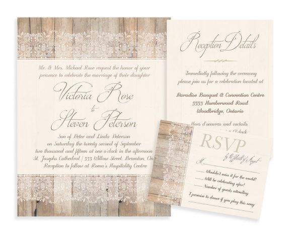 Lace Wedding Invitation Wood And Rustic Ivory Digital Or Professional Printed