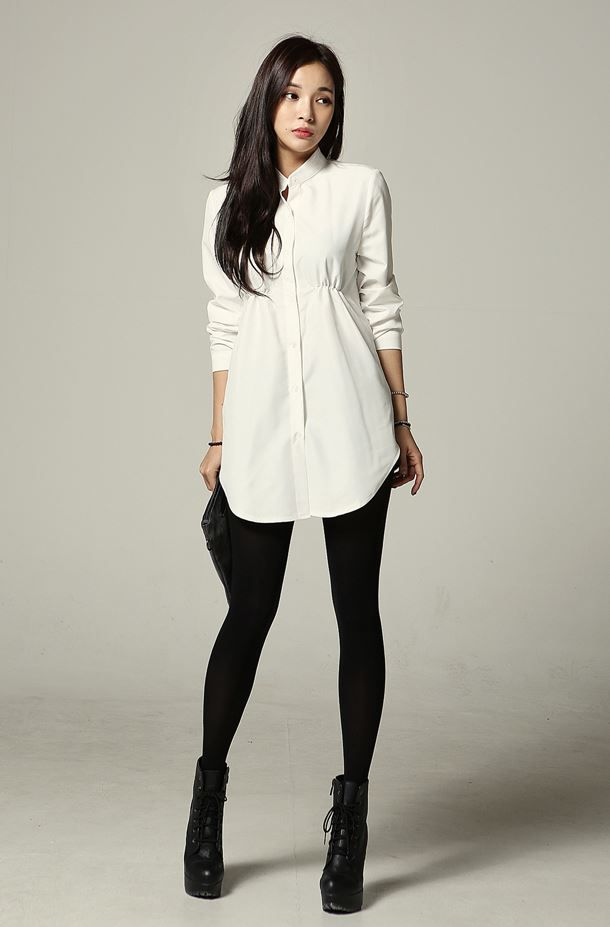 Chic look by having a long tunic type shirt/dress paired with leggings and boots