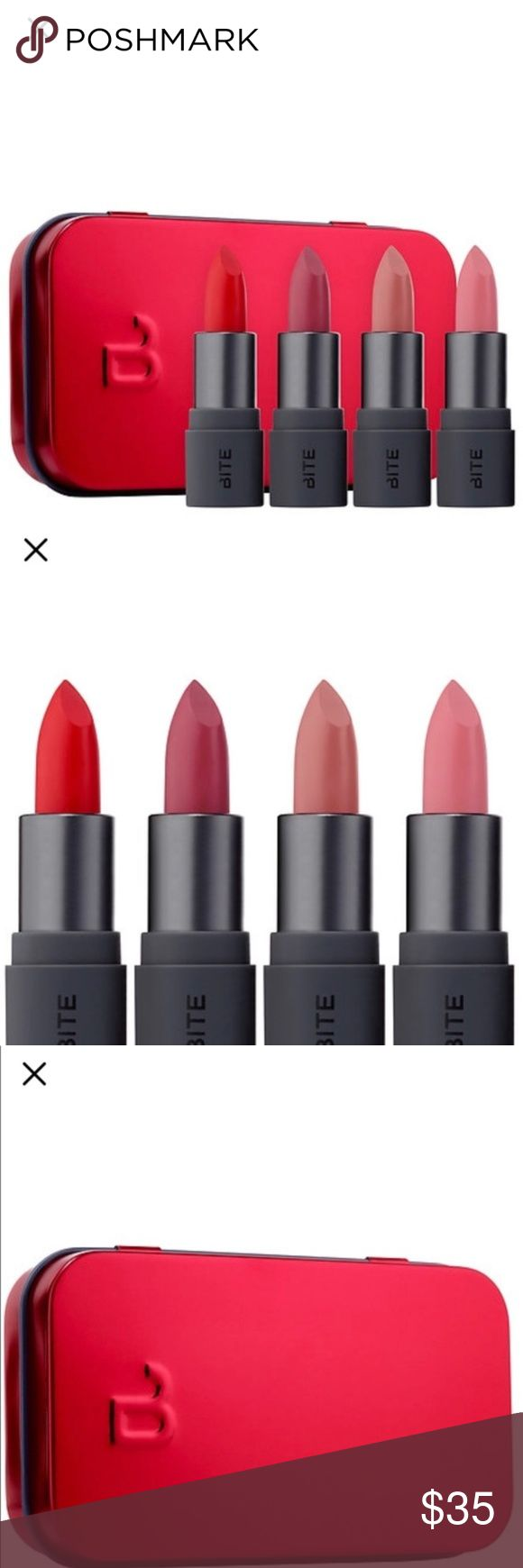 Bite Amuse lipstick set Four bestselling mini Bite Amuse Bouche Lipsticks that give lips either a subtle hint of color or a bright pop—all with a satin finish. Create flawless and polished lip looks with this giftable collection of trendy nude and bold shades.New never used. Deluxe size- 4 x .05 oz/ 1.55 g Lipsticks in Honeycomb (beige nude), Sugarcane (pale pink), Rhubarb (rich plum rose), Cayenne (bright red)  Bite Beauty is crafted with natural and food grade ingredients. Lip products do