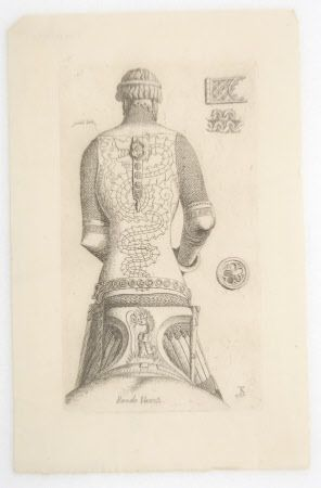 Print, Bernabo Visconti, Lord of Milan (1354-1385). Equestrian statue of Bernabo Visconti, seen from behind and showing the man only, wearing armor decorated with a dragon, his saddle decorated with a dragon rising from fire and devouring a man; with three details to the right, of a clasp, chain-mail and a roundel decoration. by The Reverend Thomas Kerrich (1748 - Cambridge 1828). Inscribed: 'Bernardo Visconti' showing the rear view. 1785