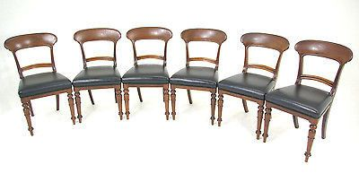 REDUCED!! B262 6 Victorian Mahogany Dining Chairs with Upholstered Seats,1860