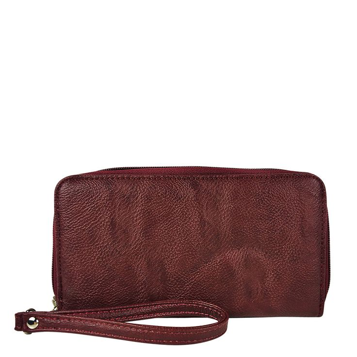 Red Plain Leatherette Look Zipper Wallet Country Western Fashion Wristlet