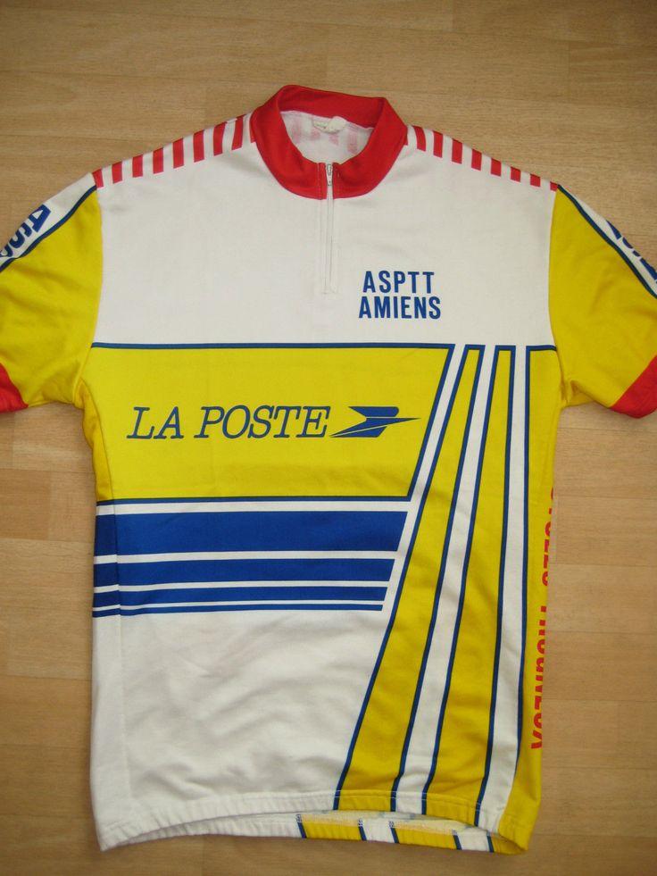 Maillot Cycliste Vintage Asptt Amiens T M Tricots DU Rocher LA Poste Sport Velo | eBay