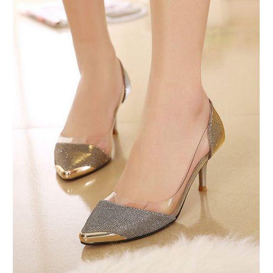 Cellophane Tape Metal Matching Shoes LAVELIQ