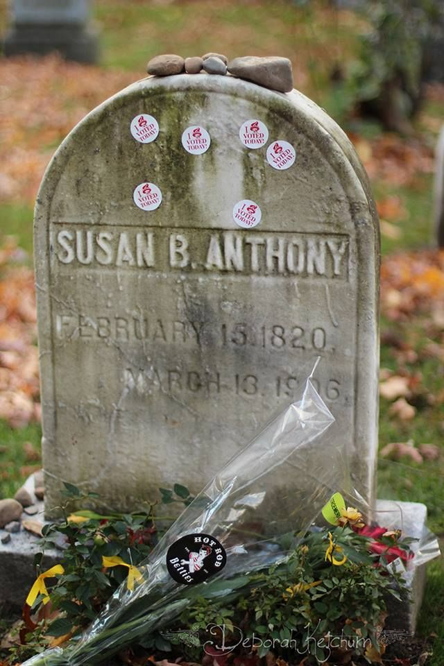 women who voted left their stickers as a tribute to Susan B, Anthony (1820-1906)
