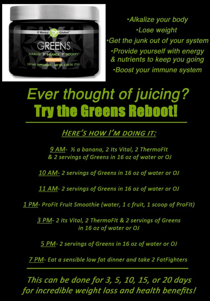 Detox with Greens  Check out my website at happyhikingwrapper.itworks.com. Contact me, Jessie, at happyhikingwrapper@yahoo.com.