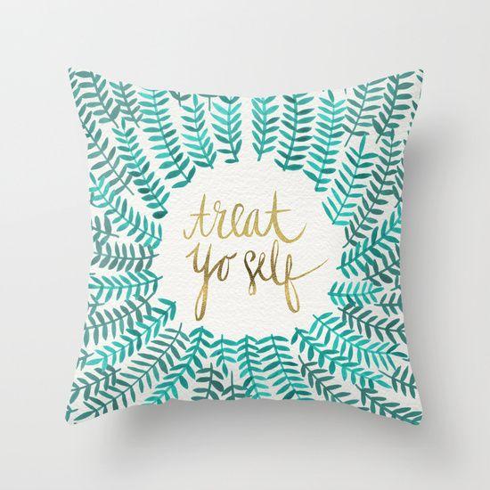 treat yo self gold turquoise throw pillow - Turquoise Decorative Pillows