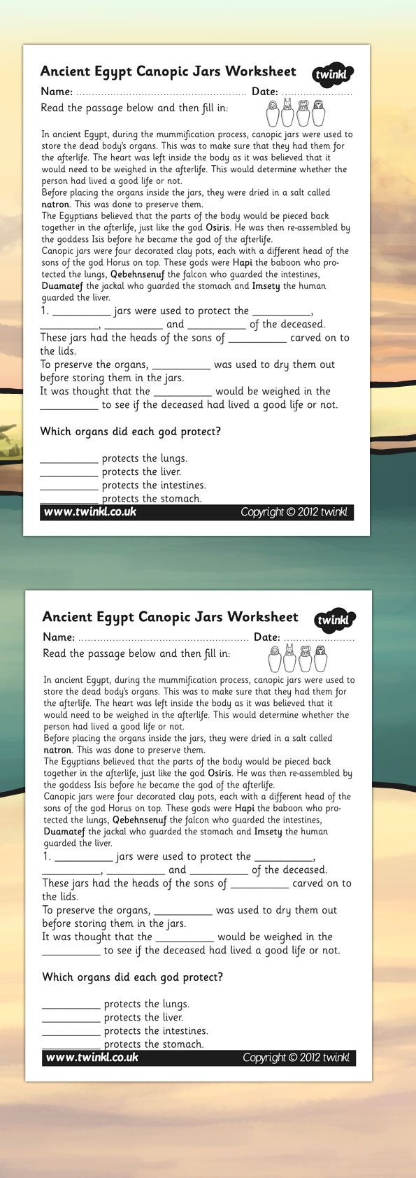 Ancient Egypt- Canopic Jars Comprehension Worksheet