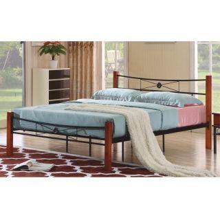 Manželská kovová posteľ s roštom čerešňa 160x200 AMARILO