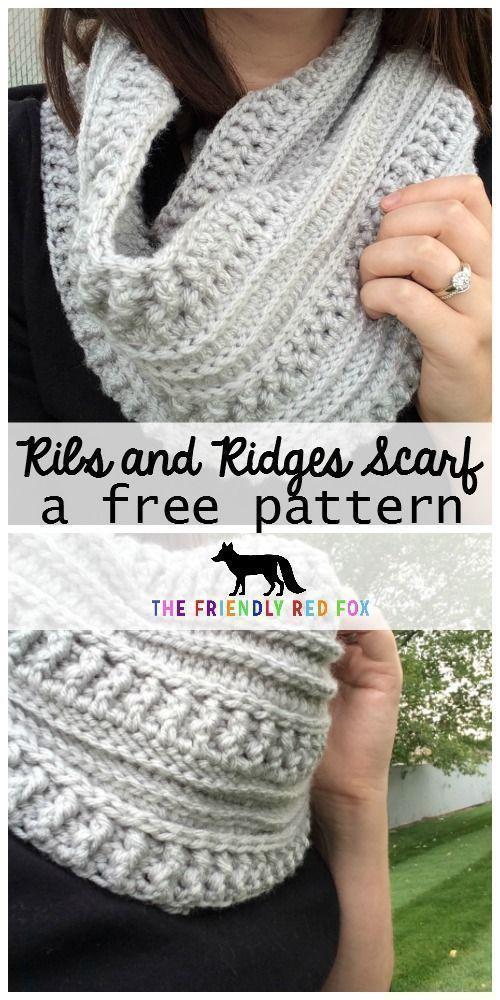 O padrão de crochê livre costelas e cumes cachecol