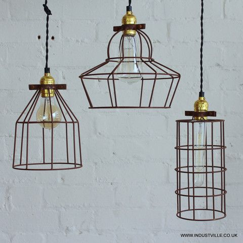Simple Vintage Cage Wire Pendant Lights