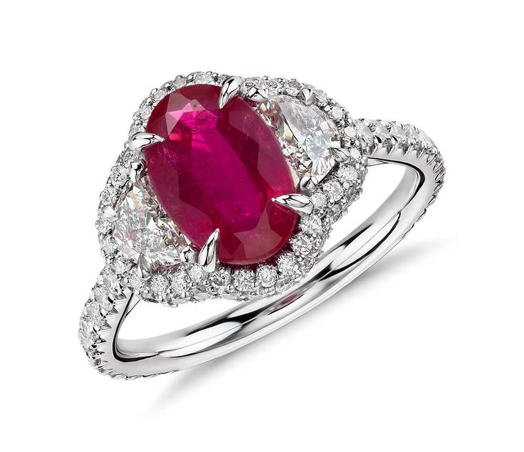 Angara Solitaire Ruby Vintage Ring with Diamond With Carving in 14k White Gold nyQ3AY6Ygk