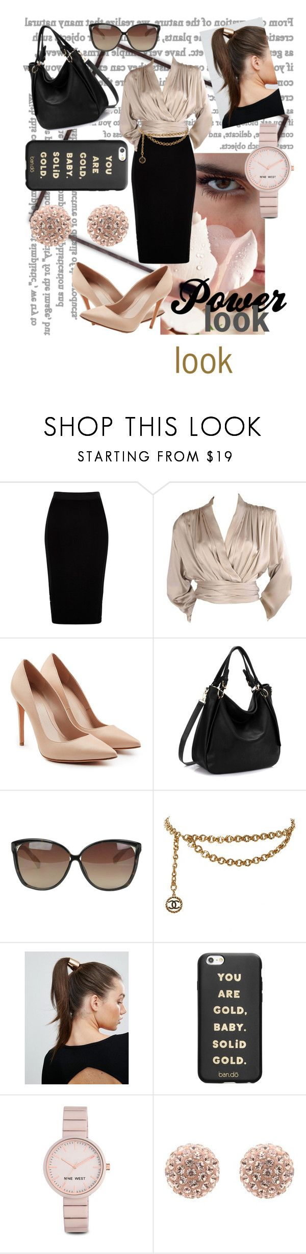 """""""Woman in Rose"""" by reynaliwanag ❤ liked on Polyvore featuring River Island, Yves Saint Laurent, Alexander McQueen, Linda Farrow, Chanel, Johnny Loves Rosie, ban.do and Nine West"""