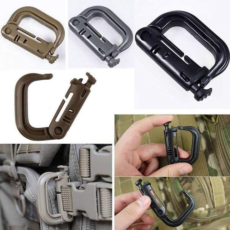Molle Tactical Backpack EDC Shackle Snap D-Ring Clip KeyRing New Carabiner : Can be attached to any 1 molle webbing for adding lanyards or other acc.