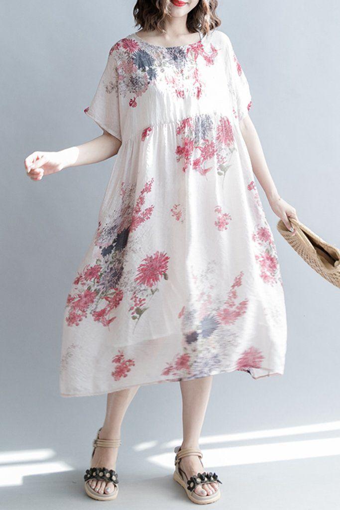 White Cotton Linen Maxi Dress