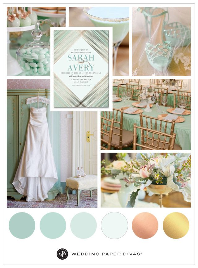 Mint And Metallic Wedding Inspiration Colors Themes Pinterest Green