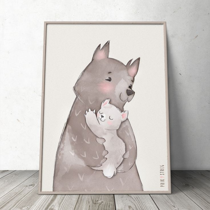 'Love You' Mom & Baby Bear Hand Illustrated Poster at www.prikogstreg.dk