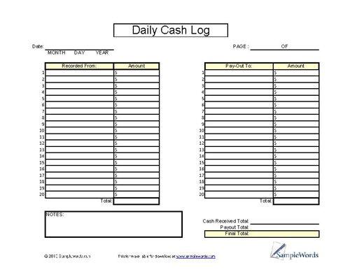daily cash log sheet
