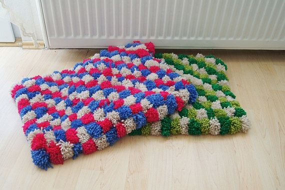 Rosa collorful Pom Poms tappetino da bagno tappeto di NesrinArt
