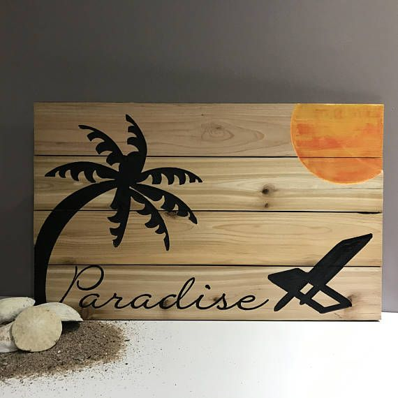 Paradise Carved Wood Sign