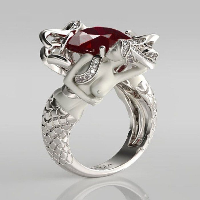 Cushion Cut Garnet Rhodium Plated Sterling Silver Mermaid Engagement Ring.