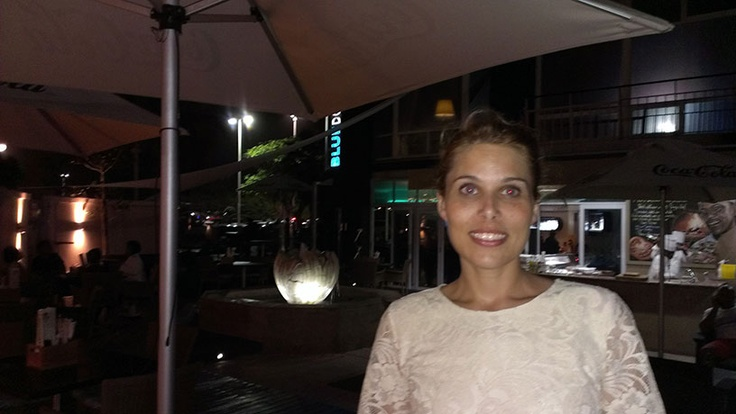 Me at Blue Dolphin restaurant at Blue Waters Hotel, Durban, divine pizza R50, and cheap sushi!